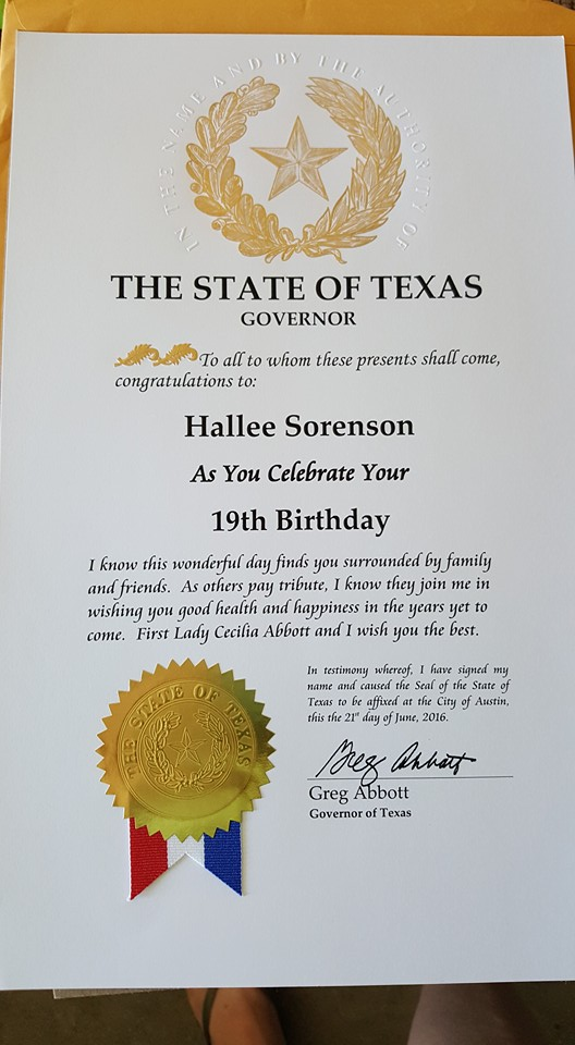 Texas kormányzójának a levele