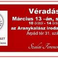 KISZÁLLÁSOS VÉRADÁS - március 13-án