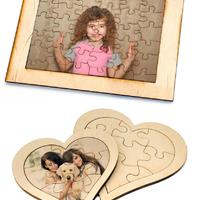 Fényképes fa puzzle ajándék szülinapra, évfordulóra