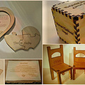 Fából készült esküvői meghívók, ültetők, egyedi, exkluzív design