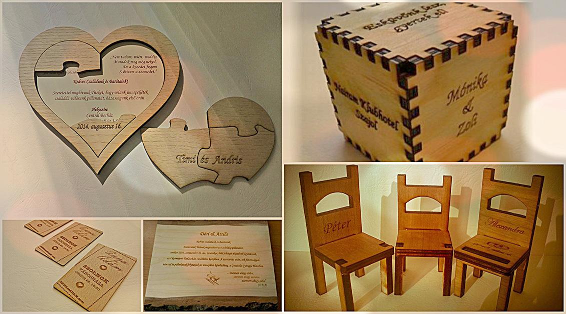 3848a843c5 Fából készült esküvői meghívók, ültetők, egyedi, exkluzív design -  Lézergravírozás-exkluzív ajándékok