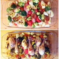 Full zöldséges sült csirkecombok