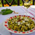 Tagliatelle al pesto all'aglio orsino avagy széles metélt medvehagyma pesztóval