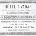 Hüttl relikvia - Hüttl Tivadar reklám 1885-ből