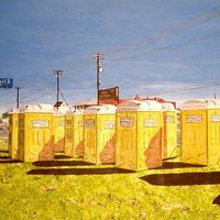 Napi kép - Tíz hordozható toalett a zöld füvön, felettük kék égbolt - David Walinski (2005.)