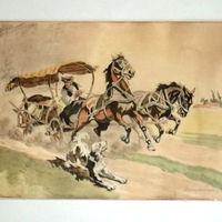 Garázslakó Benyovszky akvarell - Kutyától megriadt lovak papír akvarell - Benyovszky jelzés