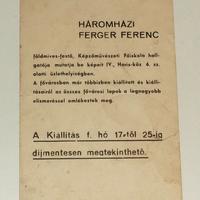 Relikviák - Háromházi Ferger Ferenc festőművész személyével kapcsolatos emlékek