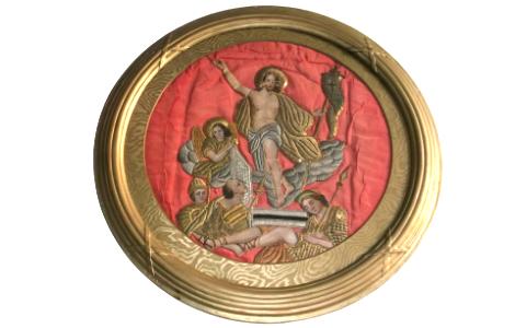 Arany ezüst hímzett szentkép zárdamunka apácamunka
