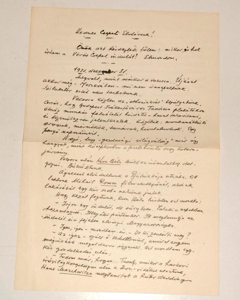 A hanglemez melléklete Hidas Antal 1971 március 7-én a Csepeli Elvtársakhoz írt levele