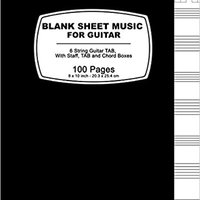 {{TXT{{ Blank Sheet Music For Guitar: Black Cover ,100 Blank Manuscript Music Pages With Staff, TAB And Chord Boxes. espanol factory Camara Burgos lookbook return Control