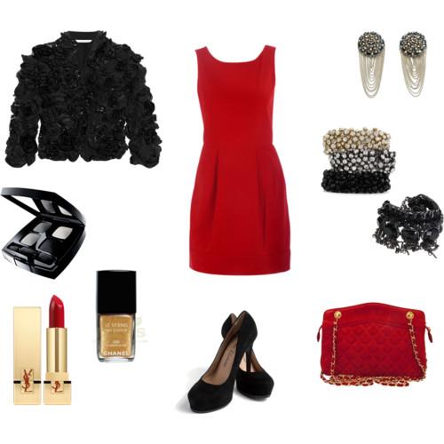 A lényeg a piros ruha.. Azt kombinálhatod meglévő kiegészítőkkel  fekete  körömcipő 91e9540330