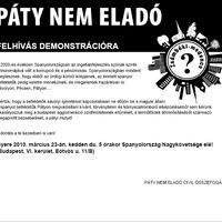 Civilek demonstrálnak Pátyért holnap a 6kerben!
