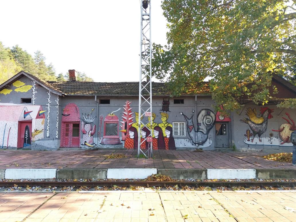vasútállomás egyik nem használt épülete