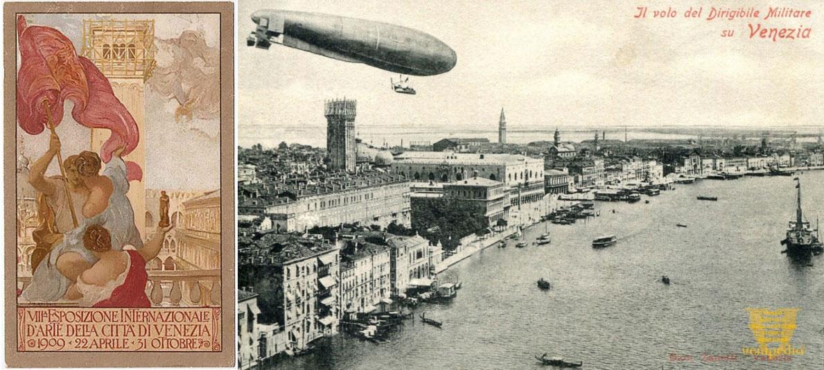 Az 1909-es Biennále plakátja | forrás: Wikimedia és Velencce 1908 | forrás: venipedia.it