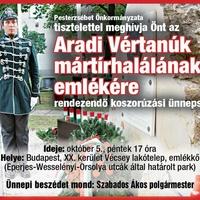 Koszorúzás az Aradi Vértanúk mártírhalálának emlékére