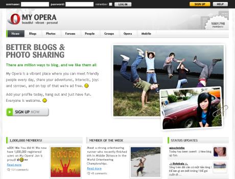 My Opera kezdőlapja. Túl az egymillión!
