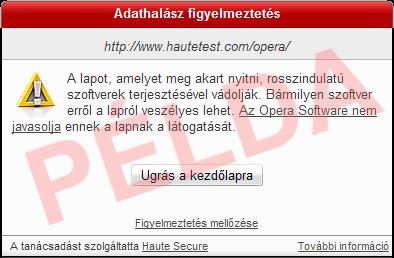 Opera figyelmeztető üzenet