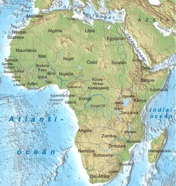afrika térkép Afrika térkép   A magyar helyesírás szabályai c. kötet alapján afrika térkép