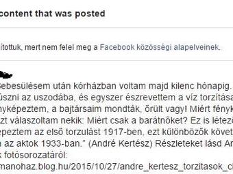 A Facebook cenzúrázta az André Kertész torzított aktképeit bemutató bejegyzést