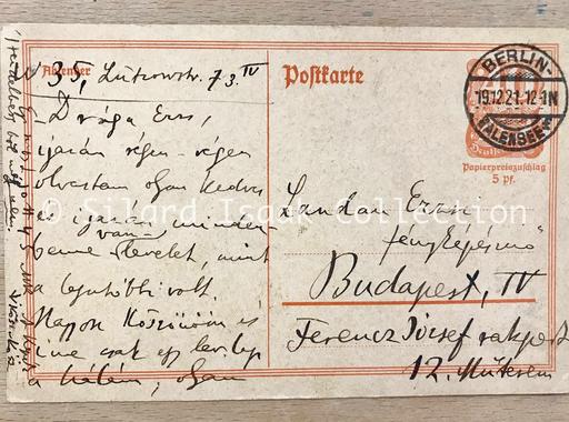Moholy-Nagy László levele Landau Erzsinek - 1921. december 19.
