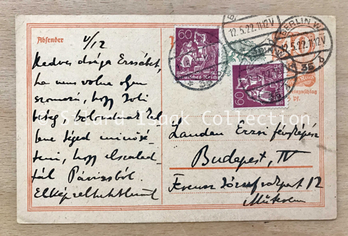 Moholy-Nagy László levele Landau Erzsinek - 1922. május 12.