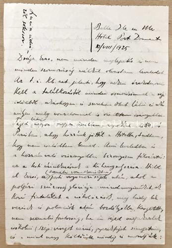 Moholy-Nagy László levele Landau Erzsinek - 1925. augusztus 10.