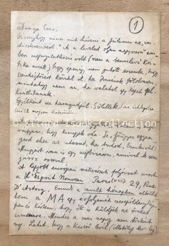 Moholy-Nagy László levele Landau Erzsinek - dátum ismeretlen