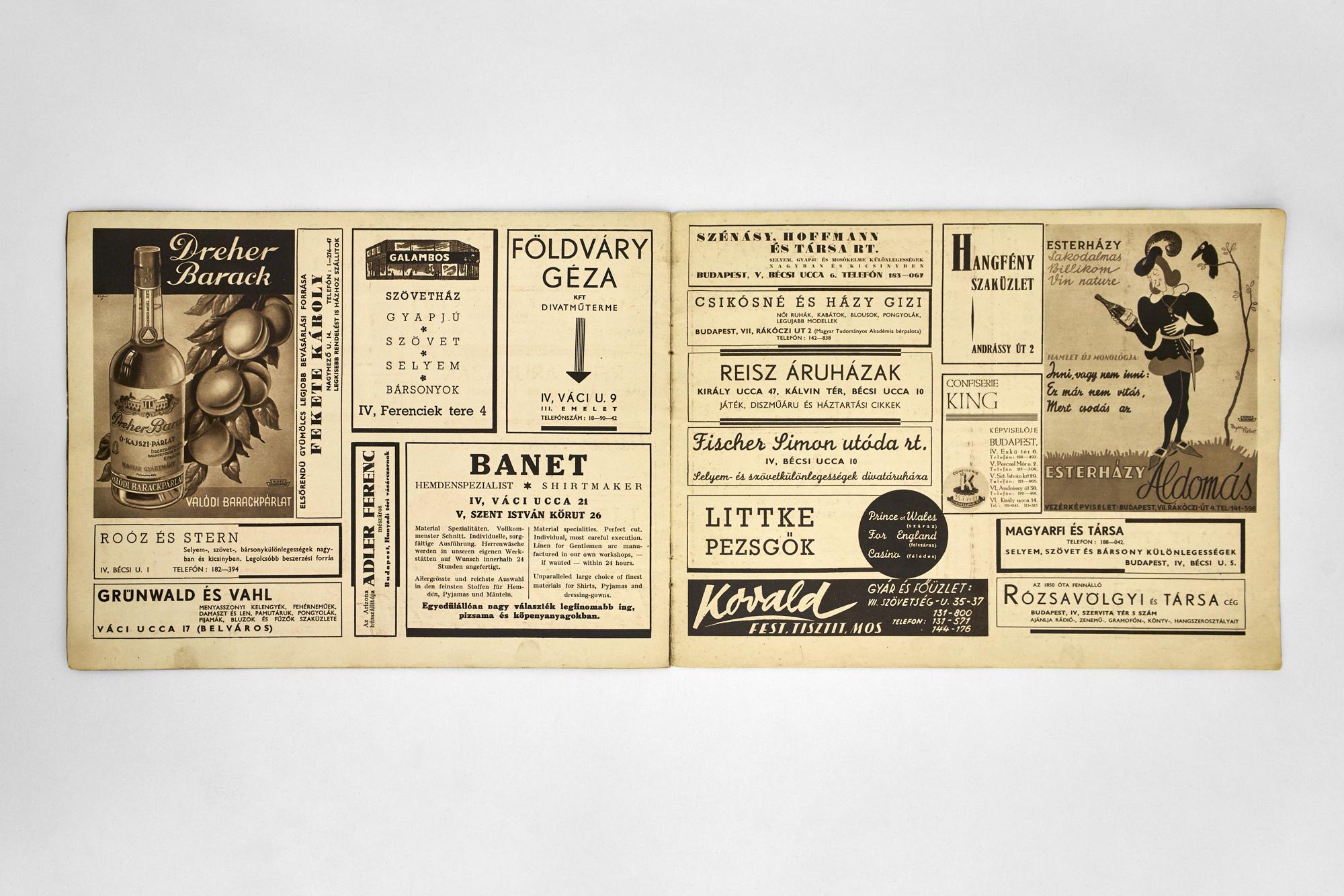 Az Arizona mulató programfüzete, 1940 (a Pécsi József Fotográfiai Szakkönyvtár tulajdona)