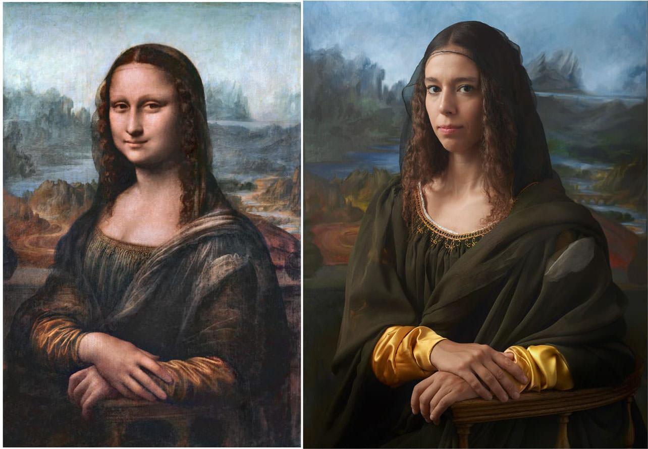 Fotó: Leonardo da Vinci: Mona Lisa, 1503-1519<br />Drew Gardner: Irina Guicciardini Strozzit (tizenötödik generációs leszármazott)