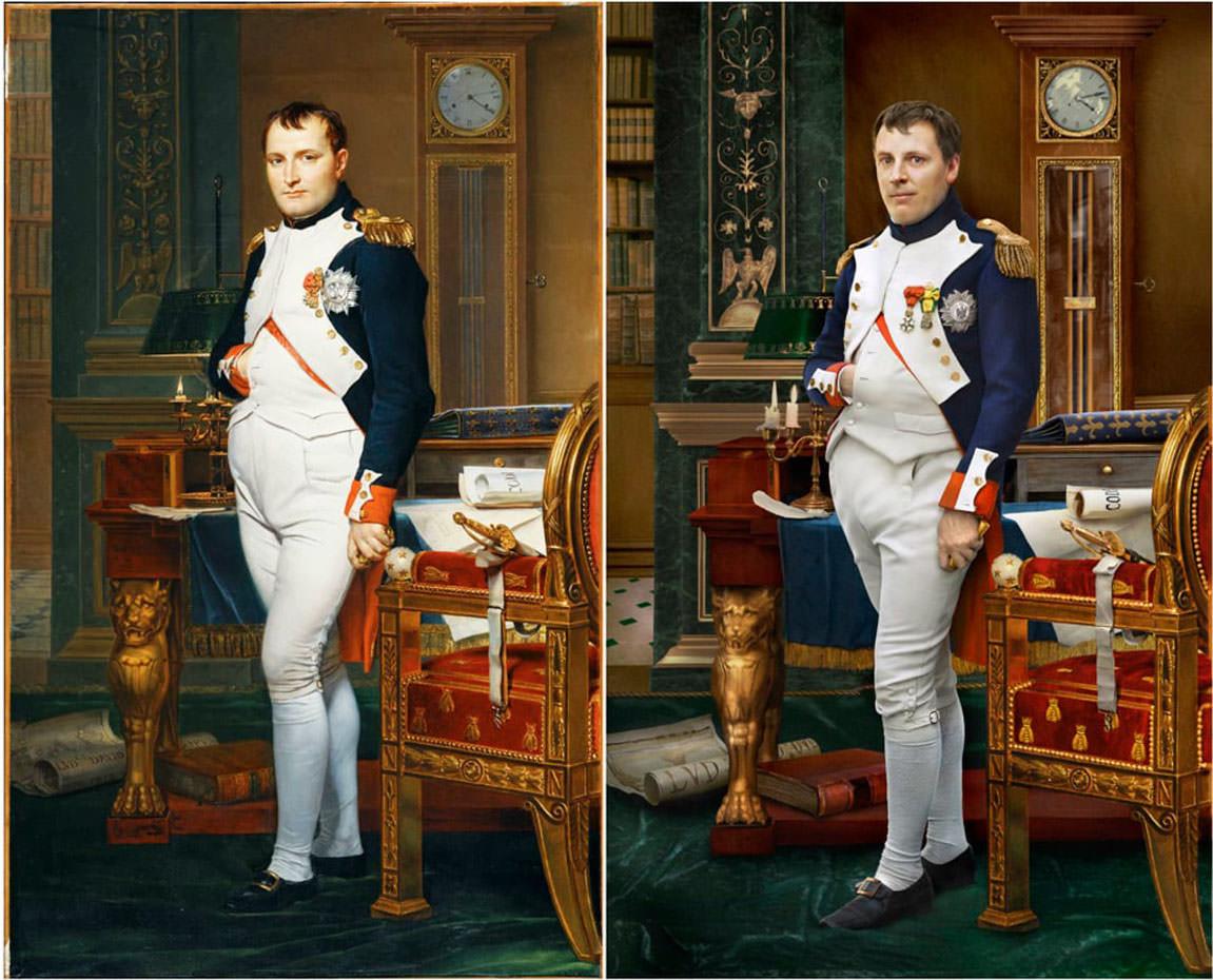 Fotó: Jacques-Louis David: Napoleon, 1812 / Drew Gardner: Hugo de Salis (negyedik generációs leszármazott)