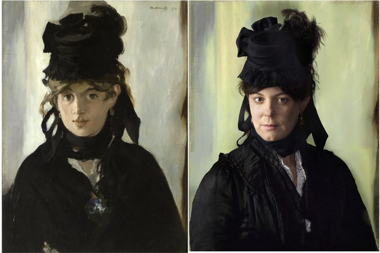 Fotó: Edouard Manet: Berthe Morisot, 1872 / Drew Gardner: Lucie Rouart, Morisot dédunokája