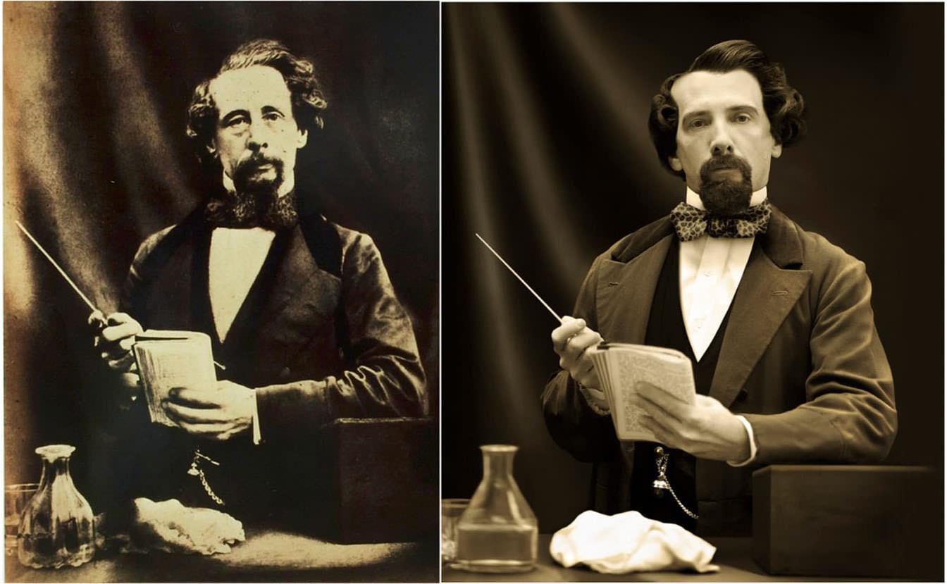 Fotó: Herbert Watkins: Charles Dickens, 1858 © National Portrait Gallery / Drew Gardner: Gerald Charles Dickens (második generációs leszármazott)