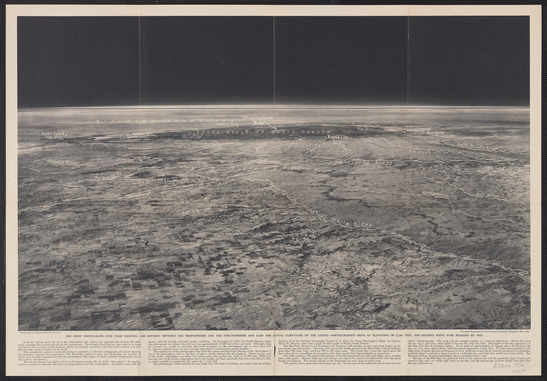 Az első felvételt a sztratoszférából a National Geographic Társaság és az amerikai hadsereg egyik közös projektjének köszönhetjük. 1935. november 11-én az Explorer II. elnevezésű léggömbbel Albert W. Stevens kapitány és Orvil A. Anderson kapitány vezetésével közel 21945 méter magasságig emelkedtek fel.