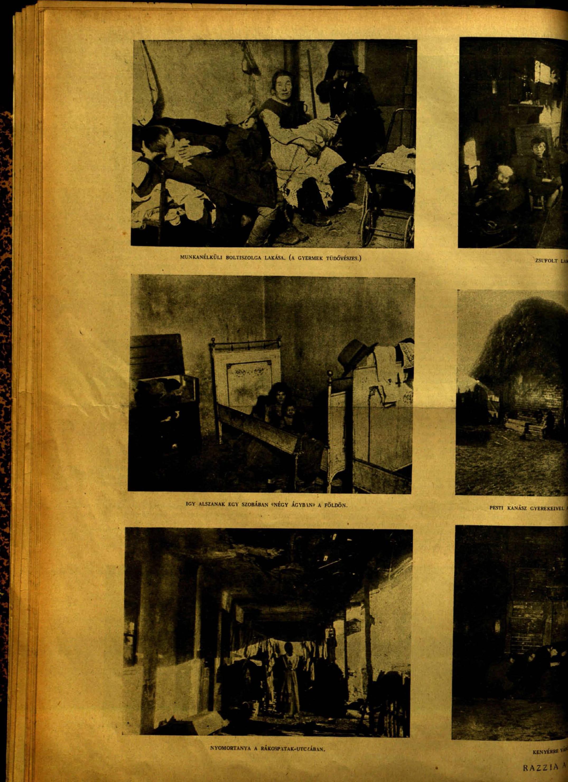 Tábori Kornél: Razzia a nyomortanyákon<br />Vasárnapi Ujság, 3. szám. 1920. 67. évfolyam. 30. oldal<br />adtplus.arcanum.hu