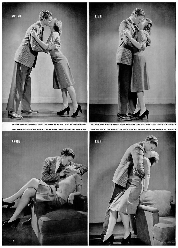 A vintag.es és a boredpanda oldalán is megjelent az alábbi fotó, mely az Útmutató a csókolózáshoz címet kapta. A képaláírás szerint a fotósorozat 1942-ben jelent meg a LIFE magazinban. Ebben az esetben a képet nem manipulálták, de a nem pontos képaláírással szintén megtévesztették az embereket.