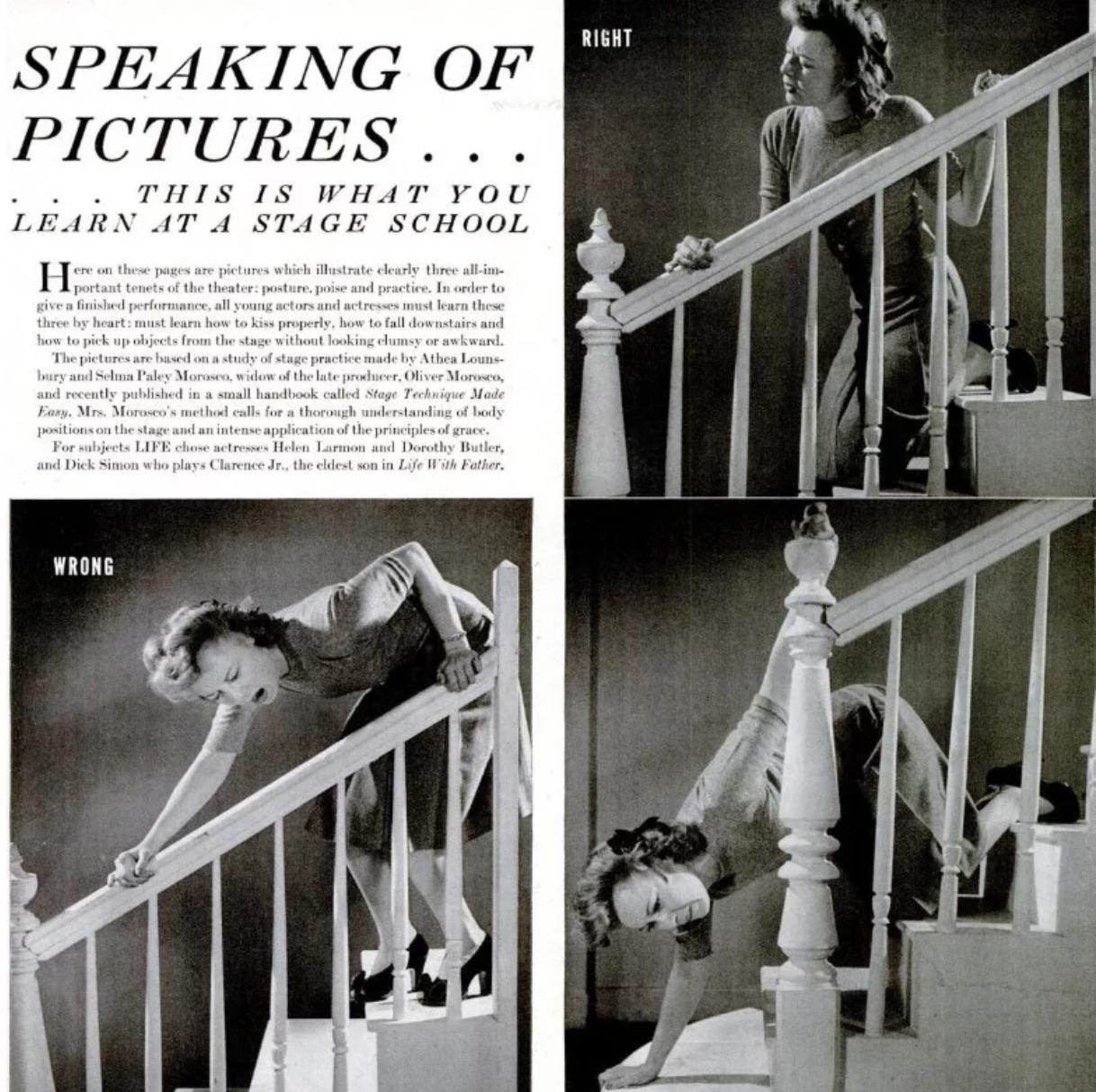 """A sorozat képei a """"Stage Technique Made Easy"""" című kézikönyv alapján készültek, amelyet Selma Paley Morosco és Athea Lounsbury írtak. A Life-ban megjelent cikk, pedig arról szólt, hogy mit tanítanak a fiatal színészeknek a csókolózásról, vagy akár arról, hogyan lehet hitelesen leesni a lépcsőn."""