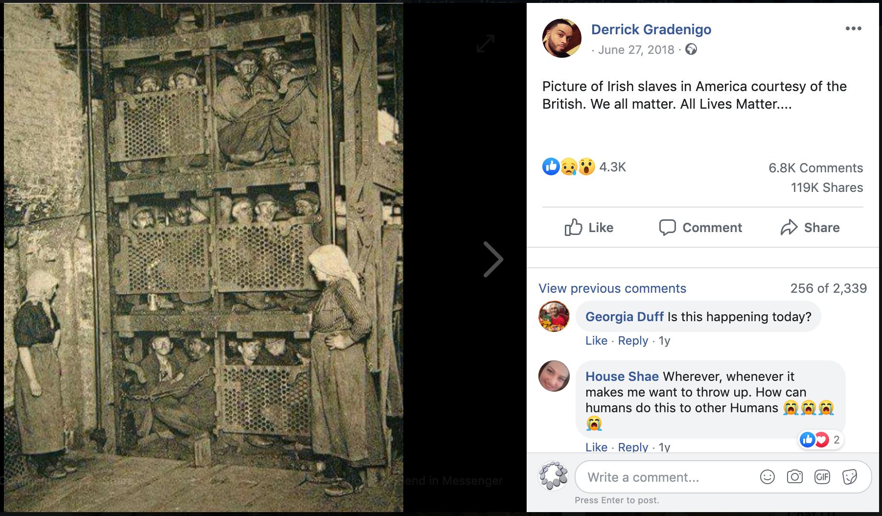 A bányaliftbe zsúfolt férfiak fényképét több mint százezren osztották meg ellentmondásos és valószínűleg hamis képleírásokkal, amelyek közül sokan politikai narratívát adtak a képhez. Ilyen példa a képen látható Facebook-bejegyzés is, amelyben a feltöltő azt állítja, hogy az Amerikában készült képen ír rabszolgákat láthatunk.
