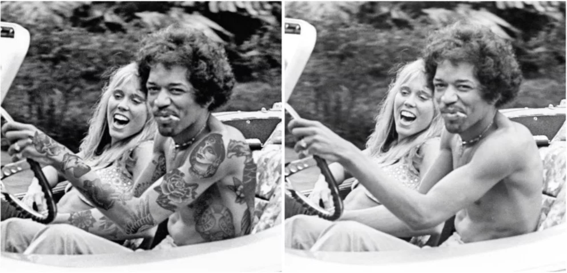 Az önjelölt photoshop tetováló digitálisan rajzolta fel Hendrix karjára a tetoválásokat.  A módosított kép 2017 október 21-én jelent meg az Old Pics Archive oldalán.