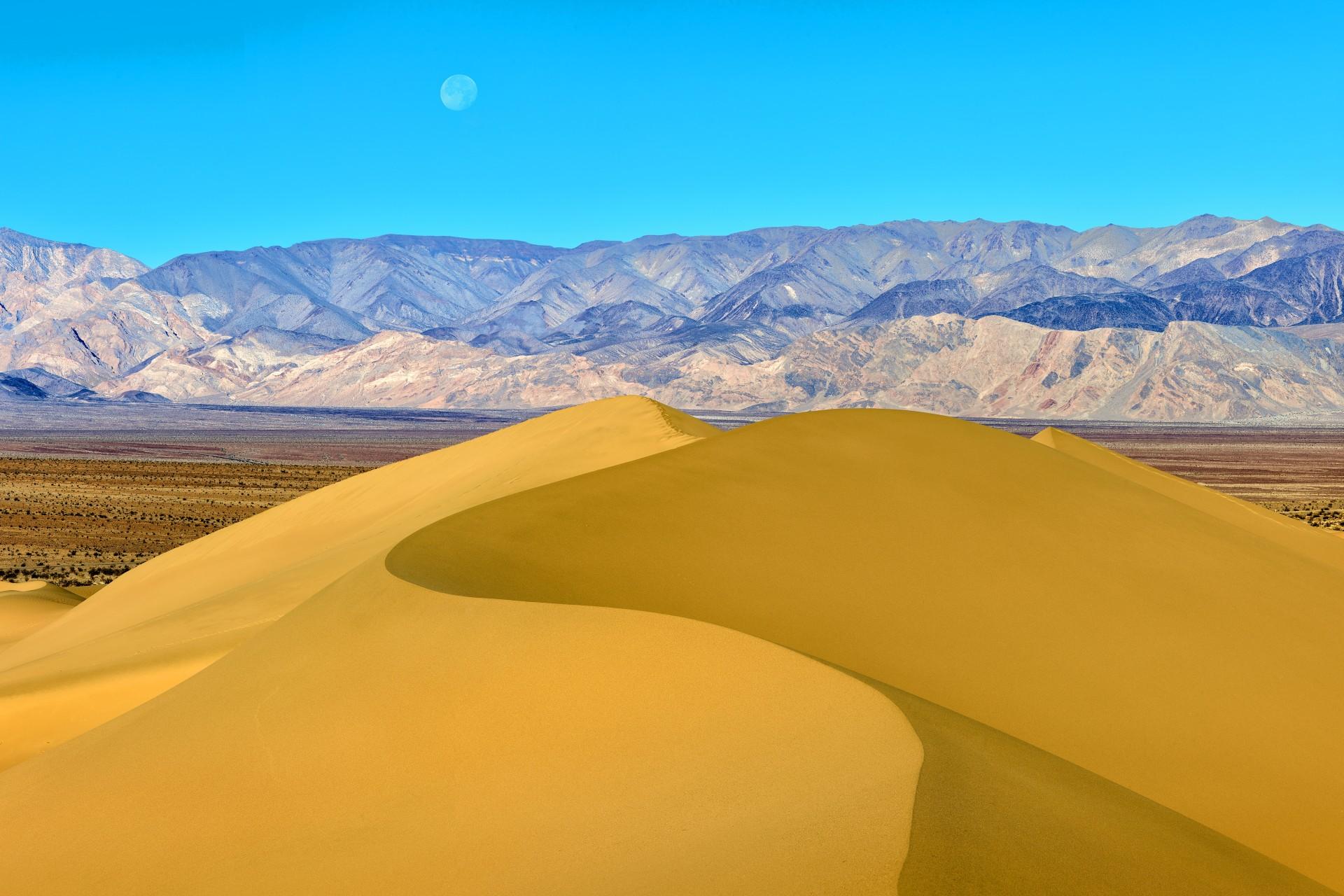 Fotó: Németh Tamás: Homokdűne hold-nyugtával<br />Kategória: Tájak<br />Helyezés: 1. díj<br /><br />Mesquite Flat Dunes homokbuckái és a majdnem telihold lenyugvó koronája, amely közelíti a horizontot a Death Valley Nemzeti Parkban, Kalifornia, Egyesült Államok. Az alapos felkészülés ellenére, egyes fotók a túra során sokkal nehezebben jöttek össze a tervezettnél. A pokoli klíma és a homokvihar mellett a turisták nyomai se tettek jót az előre megálmodott képnek. Ezért harmadszorra is nekifutottam a dűne meghódításának, ezúttal hajnalban, miután a vihar kisimította a homok felületét. A minél részletesebb végeredmény érdekében panoráma technika alkalmazását választottam. A táj mélysége megkívánta, hogy az egyes részeket fókusz sorozattal rögzítsem, így összesen 36 felvételből jött létre az alkotás.