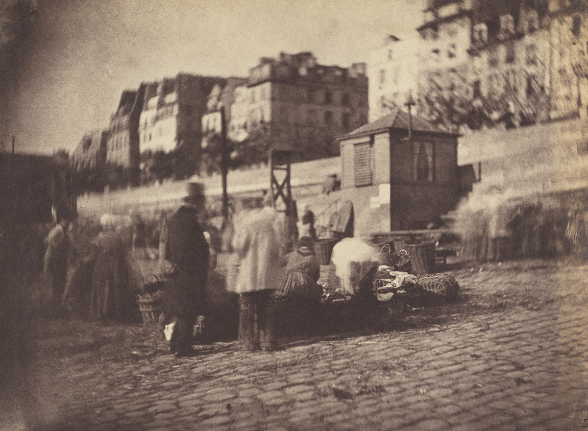 Charles Nègre<br />Market Scene at the Port of the Hotel de Ville, Paris<br />before February 1852<br />Salted paper print<br />14.7 x 19.9 cm<br />National Gallery of Art, Washington, Patrons' Permanent Fund, 2003