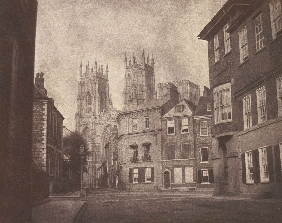 William Henry Fox Talbot<br />A Scene in York: York Minster from Lop Lane<br />1845<br />Salted paper print<br />16.2 x 20.4 cm<br />National Gallery of Art, Washington, Edward J. Lenkin Fund, Melvin and Thelma Lenkin Fund and Stephen G. Stein Fund, 2011