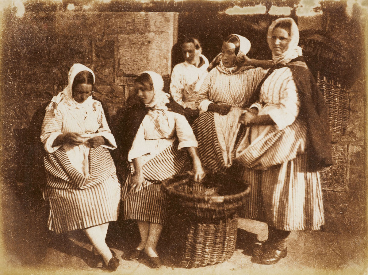David Octavius Hill and Robert Adamson <br />Five Newhaven fisherwomen<br />c. 1844<br />Photograph, salted paper print from a paper negative