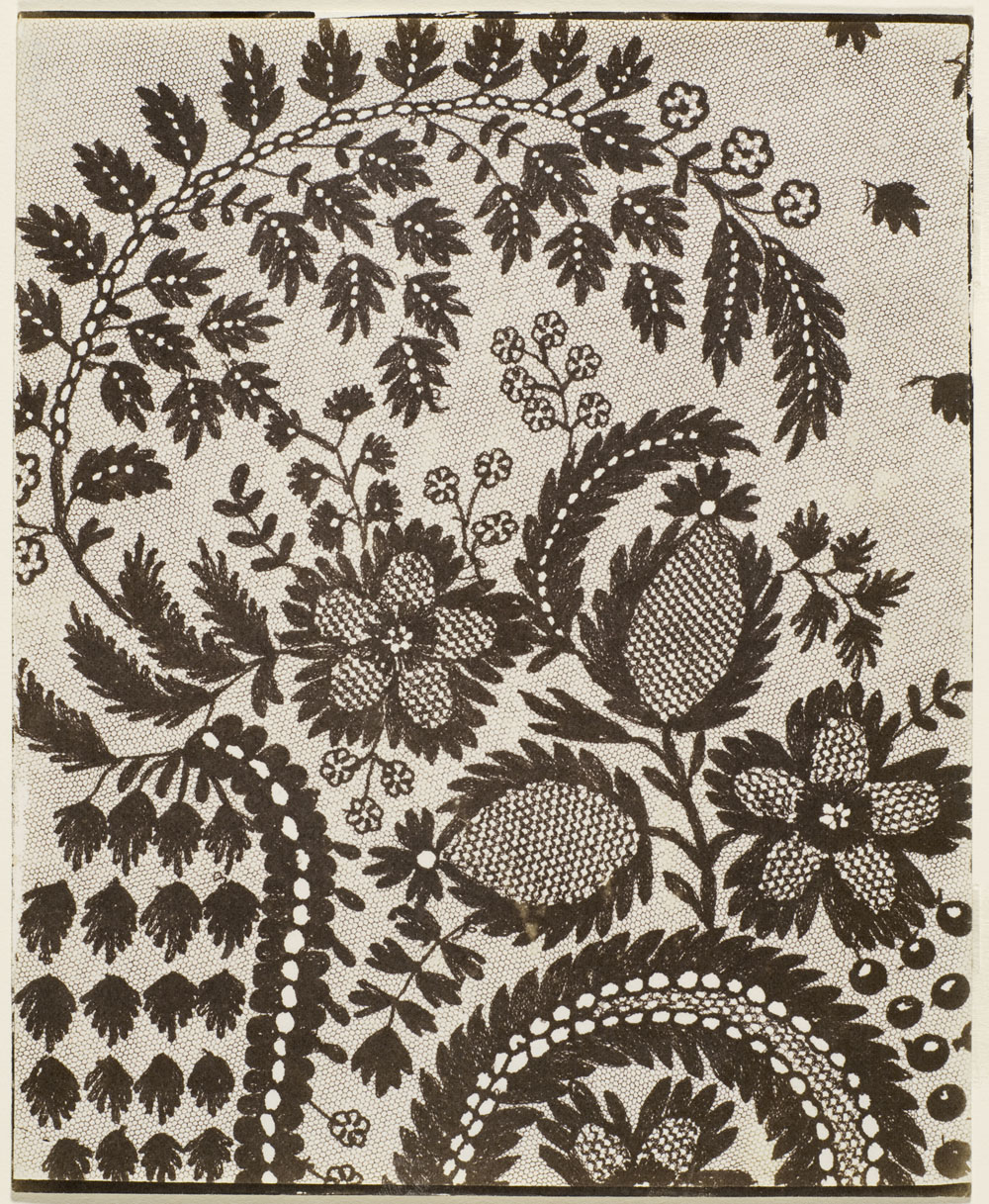 William Henry Fox Talbot<br />Lace<br />1841<br />Calotype<br />7 1/2 × 9 1/4 in. (19.05 × 23.5 cm)<br />The Marjorie and Leonard Vernon Collection, gift of The Annenberg Foundation and promised gift of Carol Vernon and Robert Turbin