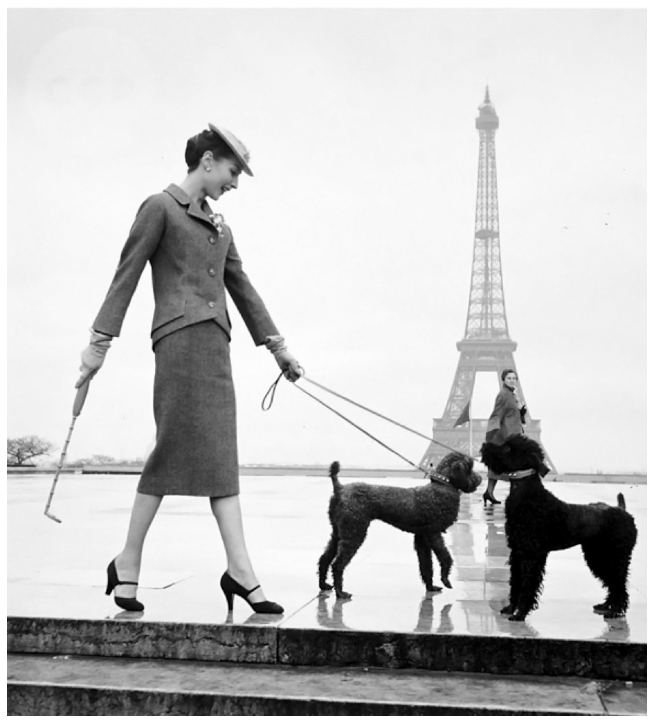Fotó: Louise Dahl-Wolfe: Renée Breton in Dior Suit Walking Poodles in Paris, nd © Louise Dahl-Wolfe Archive