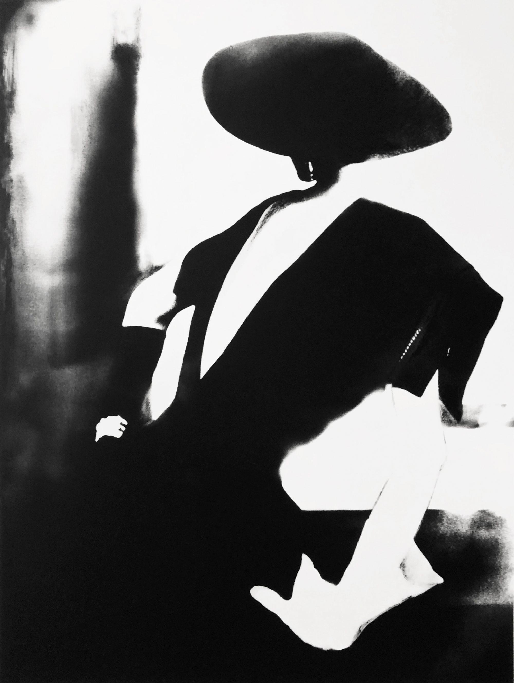 Fotó: Lillian Bassman: Black Dress With One White Glow, Barbara Mullen, Dress by Christian Dior,  New York, 1950