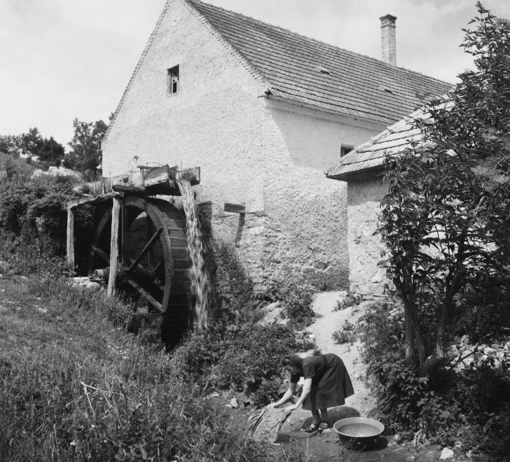 Fotó: Kotnyek Antal: Jásd, a Gaja-patak melletti malom, 1957 © Fortepan