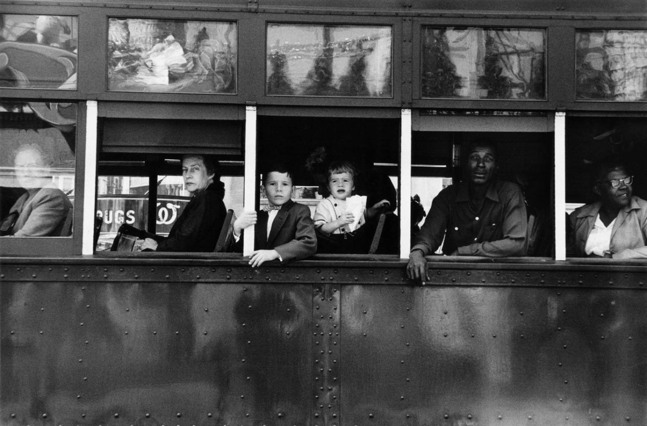 Robert Frank (American, born Switzerland, 1924)<br />Americans 18<br />Trolley – New Orleans<br />1955<br />gelatin silver print<br />Image: 40.6 x 57.8 cm (16 x 22 3/4 in.)<br />Susan and Peter MacGill<br />Photograph © Robert Frank, from The Americans