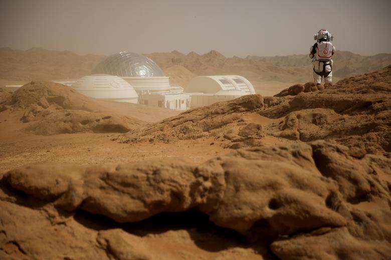 Fotó: Thomas Peter: Homokviharban Kína első Mars-bázis-szimulátora, ami az északnyugat-kínai Kanszu (Gansu) tartományban található, a Góbi-sivatagban, 2019. április 18. © Reuters/Thomas Peter