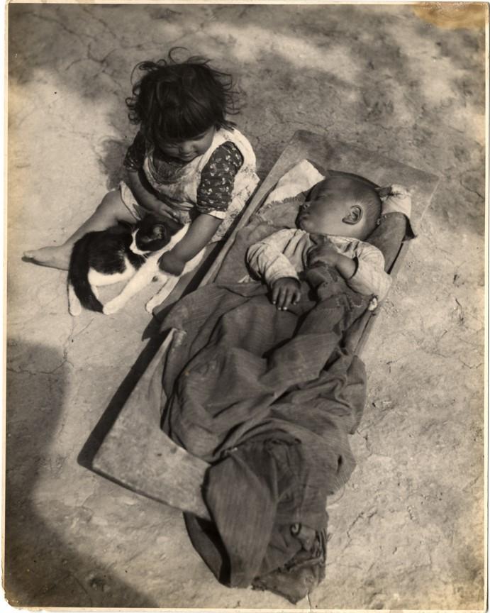 Fotó: Balogh Rudolf: Teknõben alvó kisfiú, mellette kislány cicával, 1928 © Magyar Fotográfiai Múzeum
