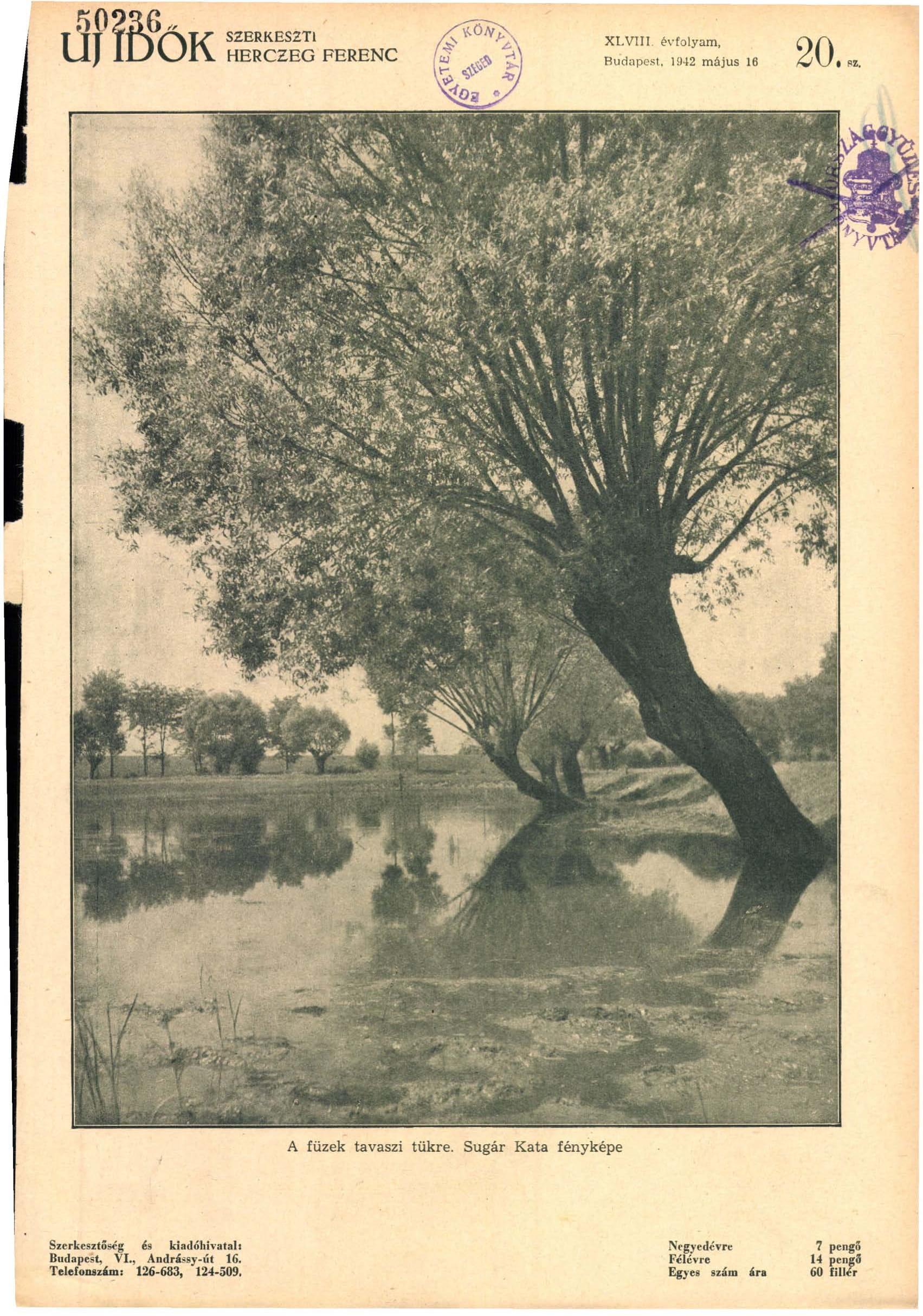 Fotó: Sugár Kata: A füzek tavaszi tükre<br />Megjelent: Új Idők, 1942. 1.<br />Forrás: adtplus.arcanum.hu